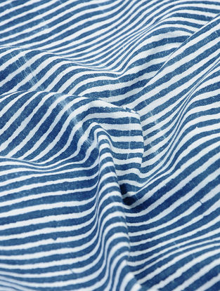 Indigo-White Natural-dyed Block-printed Striped Cotton Fabric