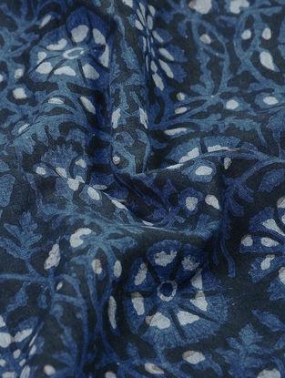 Indigo-Black Natural-dyed Block-printed Cotton Fabric
