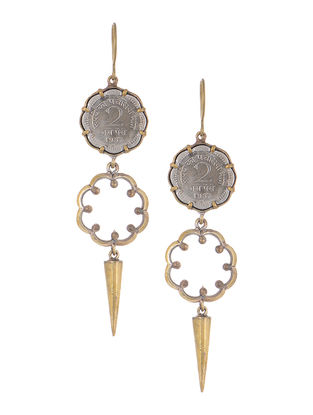 Classic Coin Dual Tone Brass Earrings