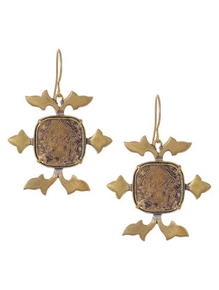 Classic Coin Gold Tone Brass Earrings