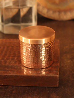Jaipuri Handcrafted Copper Trinket (Dia:2.6in, H:2in)