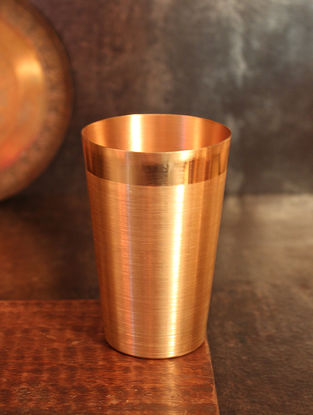 Shiva Handcrafted Copper Dhatu Water Glass (Dia:3in, H:4.5in)