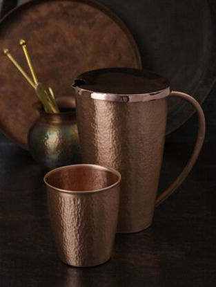 Jaipuri Handcrafted Copper Pitcher with Glass (set of 2) (L:6.3in, W:4.5in, H:7.3in)