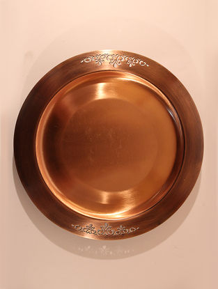 Jaipuri Handcrafted Copper Sirohi Platter (Dia:8.3in, H:0.4in)