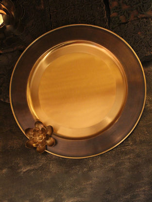 Ganga Handcrafted Brass Platter with Lotus Design (L:14in, W:14in, H:2.5in)