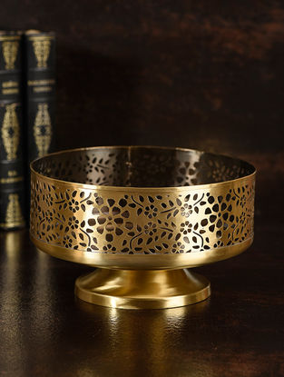 Amber Handcrafted Brass Fruit Bowl (L:7.5in, W:7.5in, H:4.3in)
