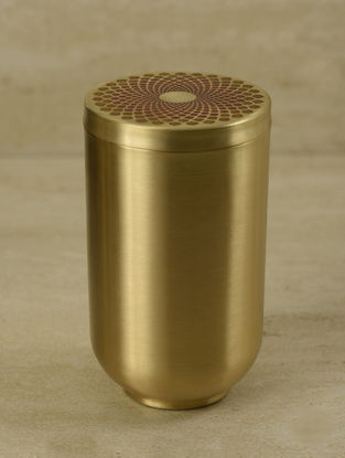 Ganga Auroville Handcrafted Brass Jar with Lid (L:3.5in, W:3.5in, H:5in)