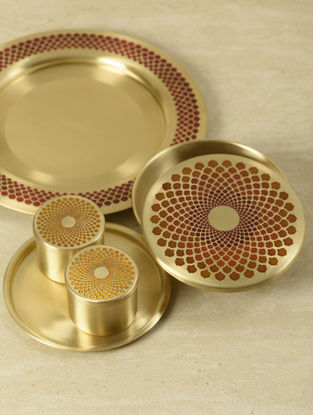 Ganga Auroville Handcrafted Brass Dining Plate (L:11.5in, W:11.5in, H:2in)