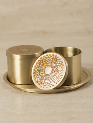 Ganga Auroville Handcrafted Brass Condiment Boxes with Tray (Set of 3) (L:6.5in, W:6.5in, H:3.25in)