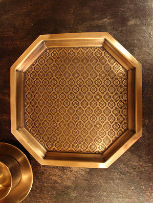Phulkari Handcrafted Brass Platter (L:12in, W:12in, H:2in)