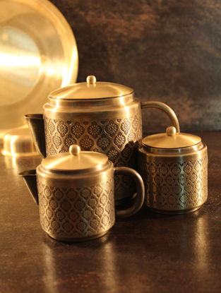 Phulkari Handcrafted Brass Tea Set (Set of 3) (L:9in, W:6in, H:9in)