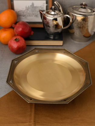 Umang Ashthmi Handcrafted Brass Serving Tray (L:11.8in, W:11.8in, H:2.8in)