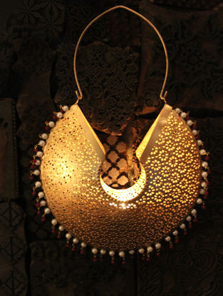 Jhumka Handcrafted Iron hanging T Light Holder (L:6.6in, W:1.7in, H:8.6in)