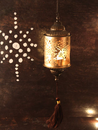 Kesar Handcrafted Iron hanging T Light Holder (L:3.5in, W:3.5in, H:9.4in)