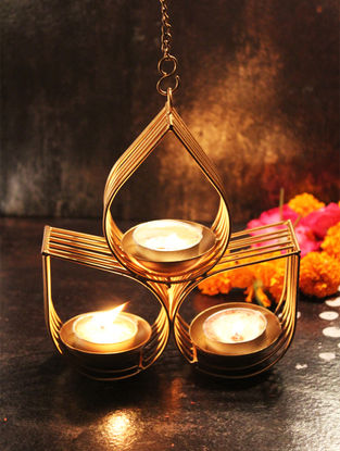 Vrindavan Handcrafted Iron hanging T Light Holder (L:5.9in, W:5.9in, H:6.6in)