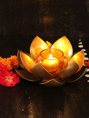 Lotus Handcrafted Iron T Light Holder with Orange Glass Votive (L:6.6in, W:6.6in, H:1.7in)