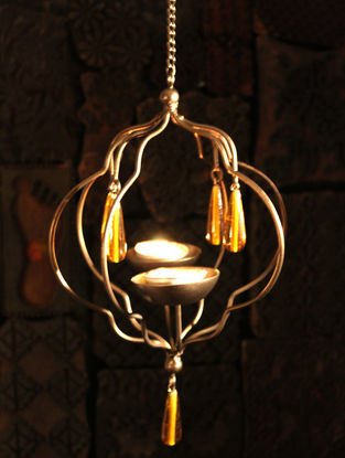 Brijwan Handcrafted Iron Hanging Tea Light Holder (L:6.2in, W:6.2in, H:8.6in)