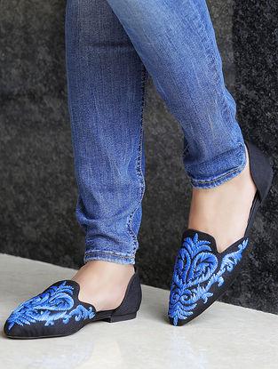 Black-Blue Hand-Embroidered Jute Ballerinas