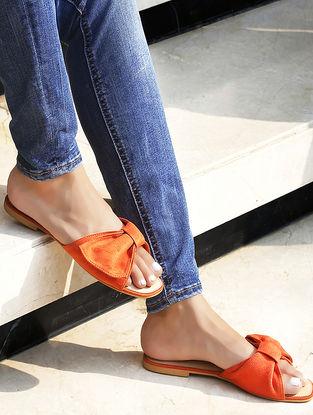 Orange Suede Flats