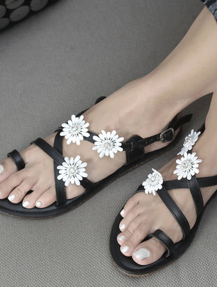 Black Handcrafted Flats with Embellishments