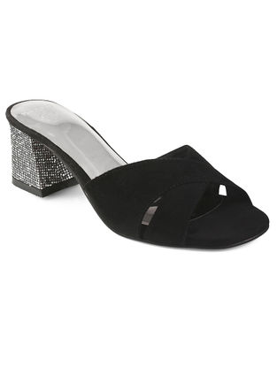 Black-Silver Block Heels