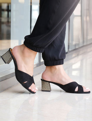 Black-Gold Block Heels
