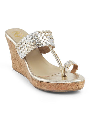 Golden-Silver Braided Cork Wedges