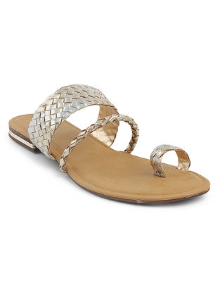 Silver-Golden Braided Flats
