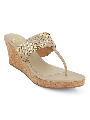 Beige-Copper Braided Cork Wedges