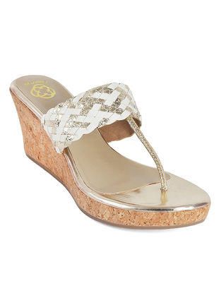 Silver-White Braided Cork Wedges