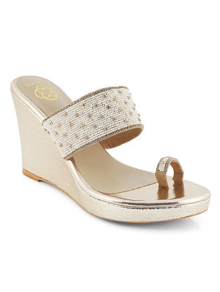 Golden-White Embellished Wedges