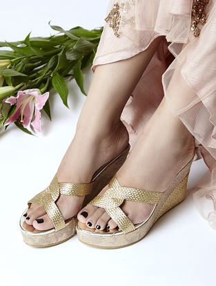 Gold Braided Jute and Cork Wedges