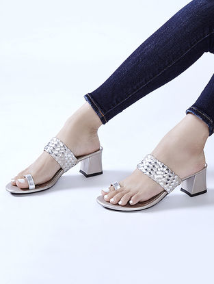 Beige-Silver Braided Block Heels