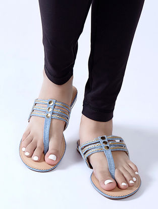 Blue Braided Denim Flats