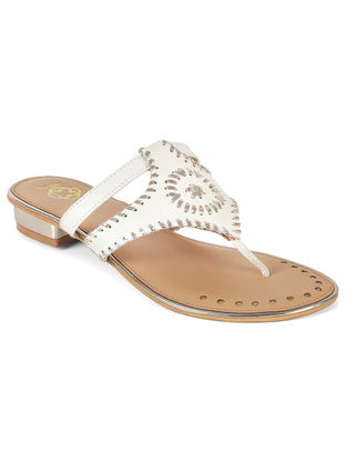 White-Silver Embroidered Flats