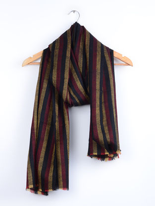 Black-Maroon Striped Handwoven Pashmina Stole
