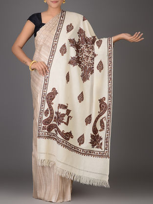 Ivory-Brown Aari-embroidered Wool Stole