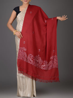 Red-Pink Aari-embroidered Wool Stole