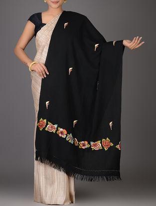 Black-Multicolor Aari-embroidered Wool Stole