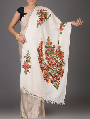 Ivory-Red Aari-embroidered Wool Stole