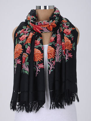 Black-Multicolor Aari-Embroidered Wool Stole
