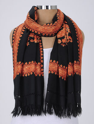 Black-Orange Aari-Embroidered Wool Stole