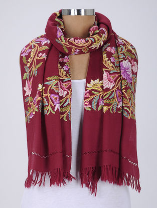 Maroon-Multicolor Aari-Embroidered Wool Stole