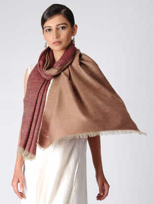 Maroon-Brown Reversible Pashmina Stole
