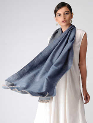 Blue-Grey Reversible Pashmina Stole