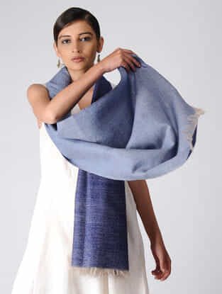 Blue Reversible Pashmina Stole