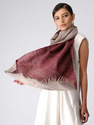 Taupe-Maroon Reversible Pashmina Stole