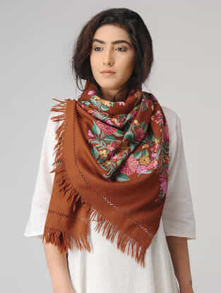 Brown-Pink Aari-embroidered Wool Stole