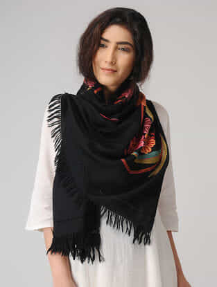 Black-Pink Aari-embroidered Wool Stole