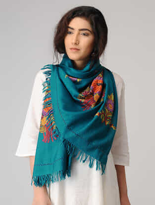 Blue-Green Aari-embroidered Wool Stole